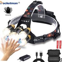 60000LM LED Headlamp Motion Sensor Fishing Headlight 3/5 LED T6 Head Torch LED Lamp Flashlight Camping Light Waterproof 2x 18650