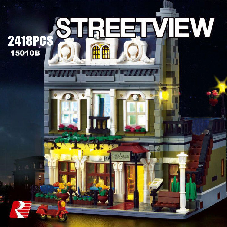 Classic Creators City street view Parisian Restaurant Block with light Model figures bricks 10243 Toys collection for Adult kids