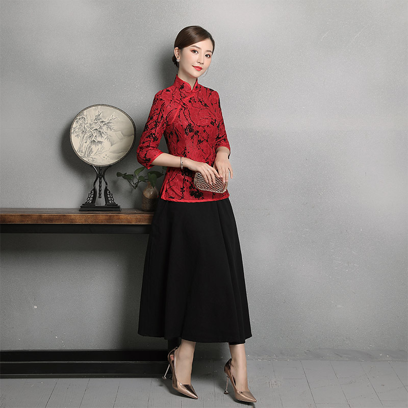 Tradicional Collar Mujer 4xl Tops Grande Blusa rojo Encaje Camisa Negro Tamaño Red De Black Ropa Mandarín rosado púrpura Vintage Tang Elegante M China Floral 4wFEZZ