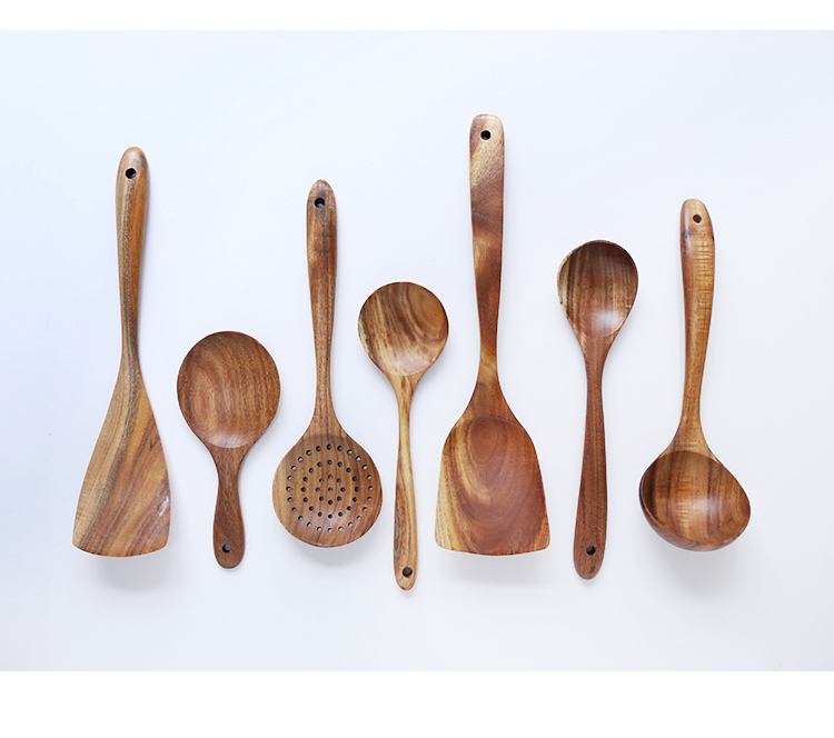 Thailand Teak Natural Wood Utensil Set Spoon Ladle Turner Long Rice Colander Soup Skimmer Cooking Spoons Scoop Kitchen Tool Set 79
