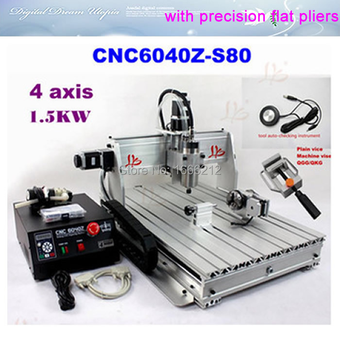 CNC 6040Z-S80 4 axis router with 1.5KW VFD spindle, engraving machine for engraving hard material cnc 5axis a aixs rotary axis t chuck type for cnc router cnc milling machine best quality