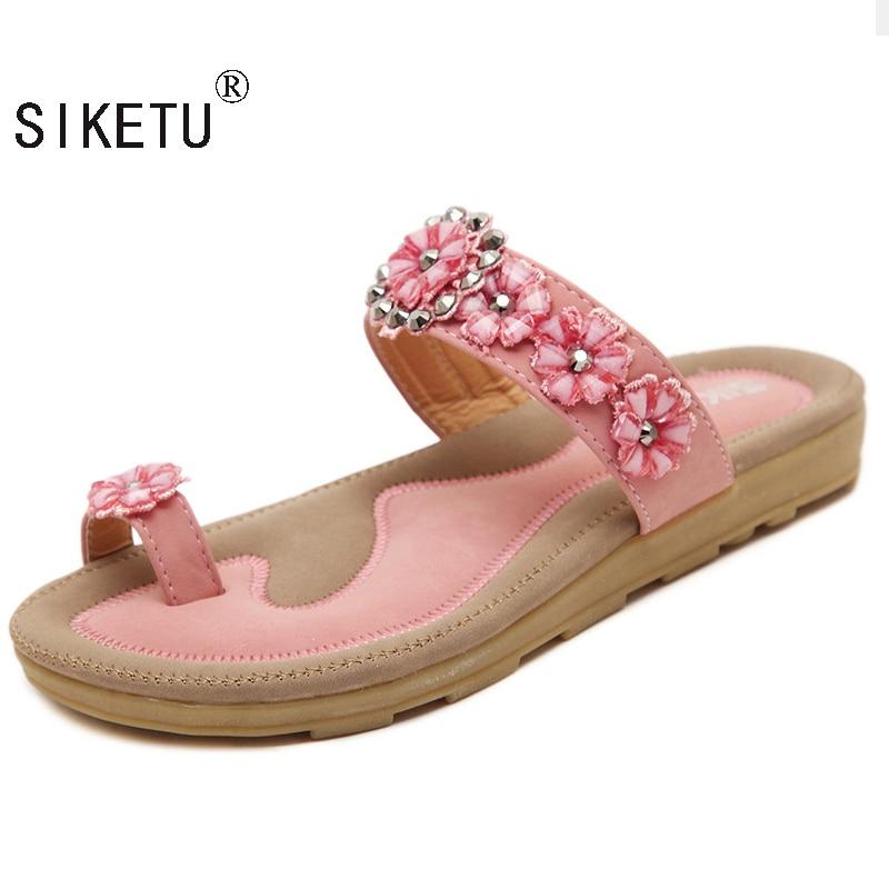 SIKETU 2017 New Sweet Bohemian Flower Women Sandals Flat With Shoes Rhinestone Fashion Flip Flops Large Size Casual Shoes 35-41