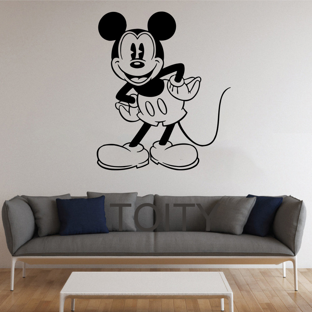 black wall sticker mickey mouse cartoon for kids room brocade black floral wall art sticker kit