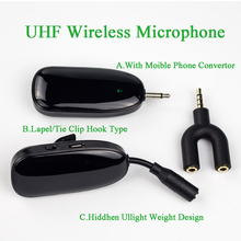 Professionel Smart Phone Mic Mini Mobile UHF Wireless Microphones Clip Tie Hook Lapel Microphone for Computer/Phone//PC