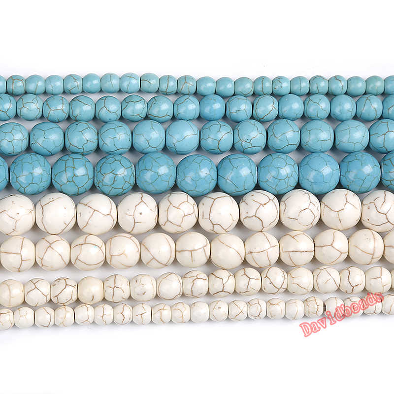 "Free Shipping Natural Blue White Turquoises Round Loose Beads 15"" Strand 4 6 8 10 12 MM Pick Size For Jewelry Making DIY"