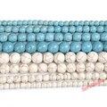 Бесплатная доставка, круглые бусины синего, белого, бирюзового цветов, нитка 15 дюймов, размеры 4, 6, 8, 10, 12 мм, для самостоятельного изготовлени...