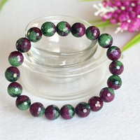 Free Shipping Natural Genuine Half Red and Green Ruby Zoisite Finished Stretch Bracelet Faceted Round Loose beads Jewelry 04352