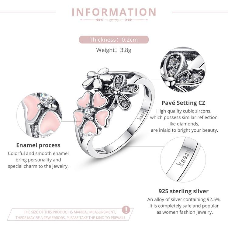 HTB1sK hjgvD8KJjy0Flq6ygBFXaS BAMOER Fashion 925 Sterling Silver Pink Flower Poetic Daisy Cherry Blossom Finger Ring for Women #6 7 8 9 Size Jewelry SCR004
