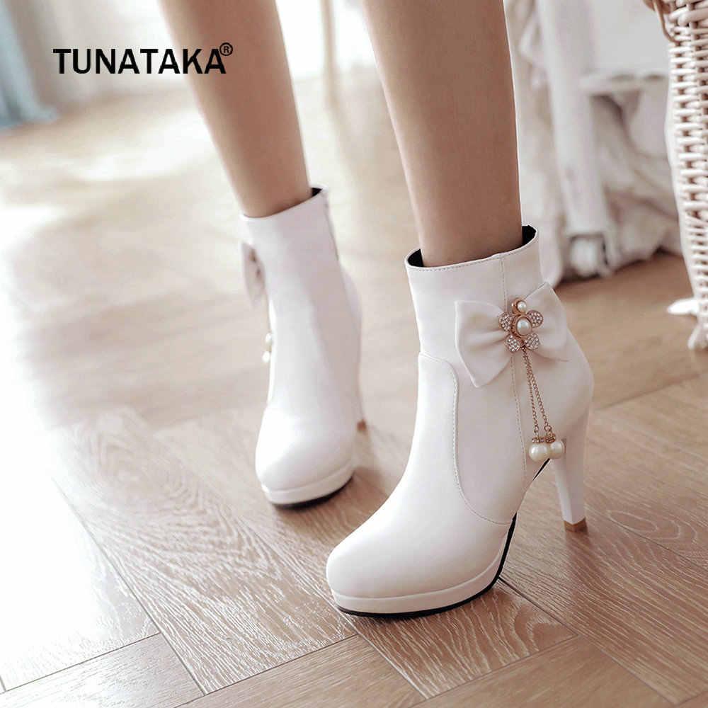 Kadın Botları Pu Deri Kare Yüksek Topuklu yarım çizmeler Platformu Yay Fermuar Kış Bayan Ayakkabı Artı Boyutu 2018 Beyaz Siyah Pembe
