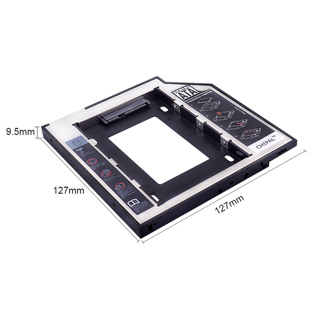 CHIPAL Universal SATA 3.0 2nd HDD Caddy 9.5mm for 2.5″ 2TB SSD Case Hard Disk Enclosure with LED for Laptop DVD-ROM Optical Bay