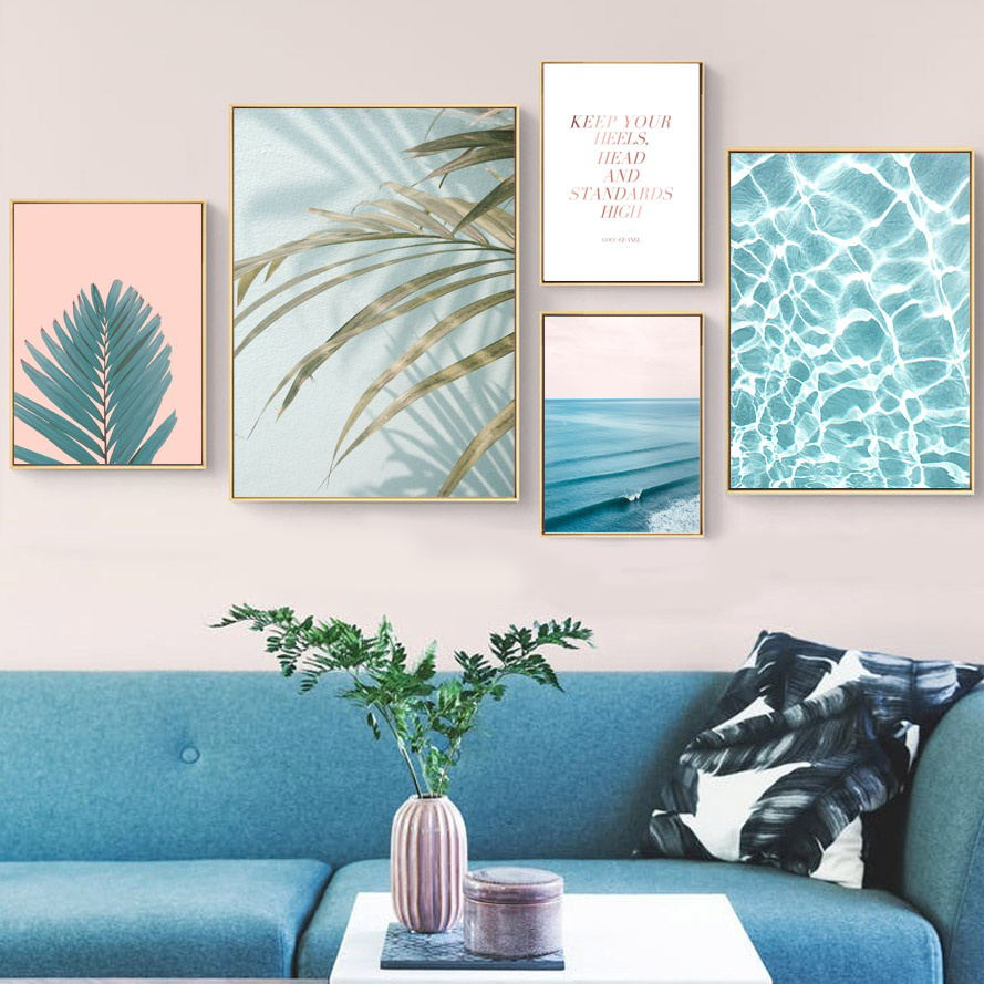 Watercolor Palm Leafs Blue Sea Landscape Wall Art Canvas Painting Nordic Posters And Prints Wall Pictures For Living Room Decor