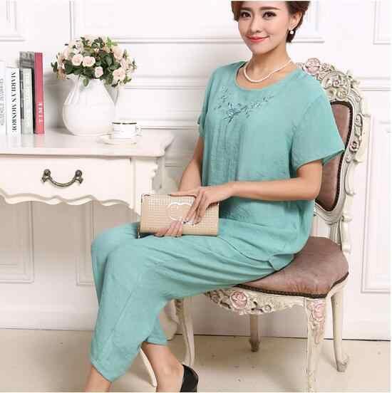 2018 Summer Women Pyjamas Plus Size Sleepwear Set Short Sleeve Pajamas For Women Pijama Sets Cotton Linen Pijamas XL-4XL E1198