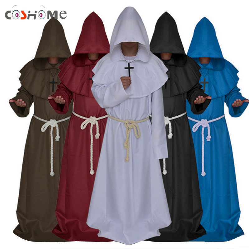 Coshome Medieval Monk Cloak Cape Robe Gown Renaissance Cosplay Costumes Men Adult Christian Clothing Priest Party Mantles Coat