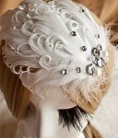ファッションラインストーンロールホワイトフェザーヘアクリップ花アクリル新しい