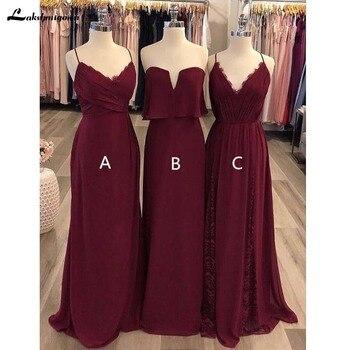 Cheap Chiffon Burgundy Mismatched Bridesmaid Dresses Maxi Formal Bridesmaid Gowns Vestido De Festa De Casamento Long Party Dress