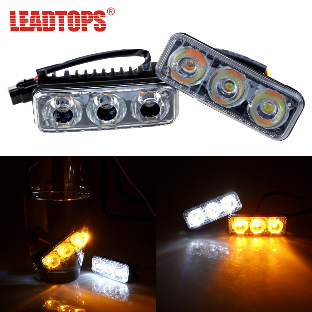 LEADTOPS Car DRL Daytime Running Light + Turning lights 9W Waterproof DC 12V Car Styling Source Auto Lamp brake For audi AE leadtops led daytime running light 2pcs 100% cob chip led diy drl fog car lights car day lamp 12v for audi vw toyota mazda be