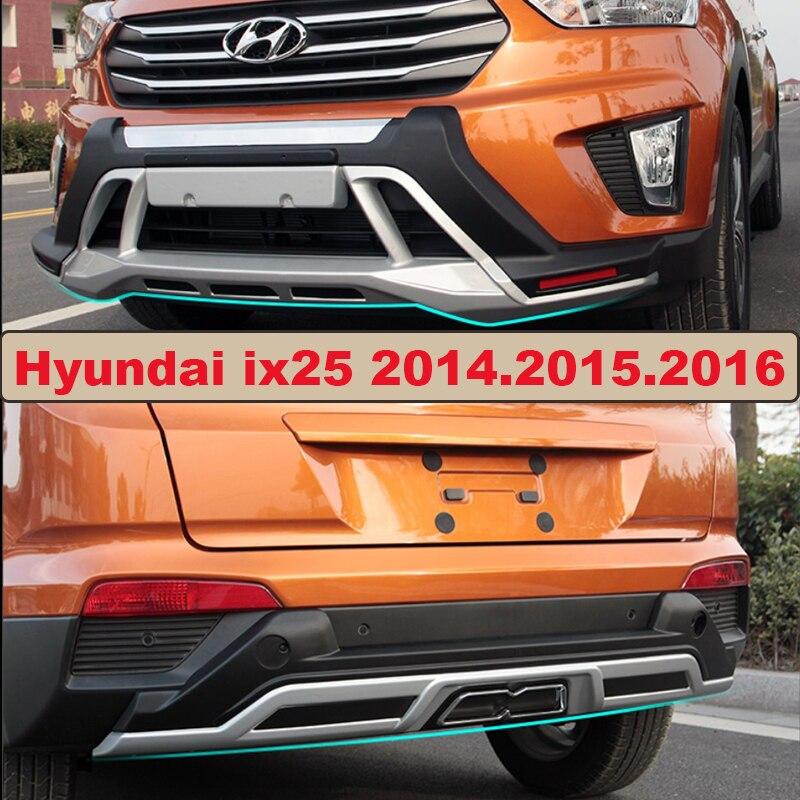 Bumper Protector Garde Plaque Pour Hyundai ix25 2014.2015.2016 Haute Qualité Brand New ABS Avant + Arrière Pare-chocs De Voiture Accessoires
