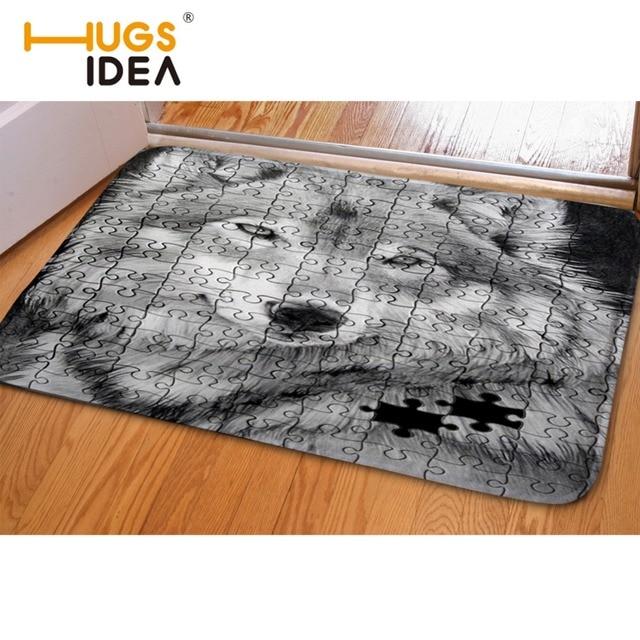 993068c9fab9 HUGSIDEA divertida alfombra de franela de lobo gris alfombra de absorción  de agua sala de estar