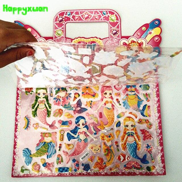 Happyxuan 6pcs lot double layer fairy dress up girl puffy sticker princess mermaid bubble classic