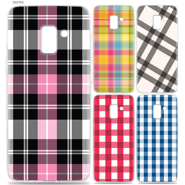 competitive price 04e2a ec507 US $1.97 37% OFF|YAETEE Colourful Check Gingham Plaid Wildflower Case for  Samsung Galaxy J6 S9 S8 J8 J4 A6 A8 Plus J2 J3 J5 S7 S6 Edge 2018 2017 -in  ...