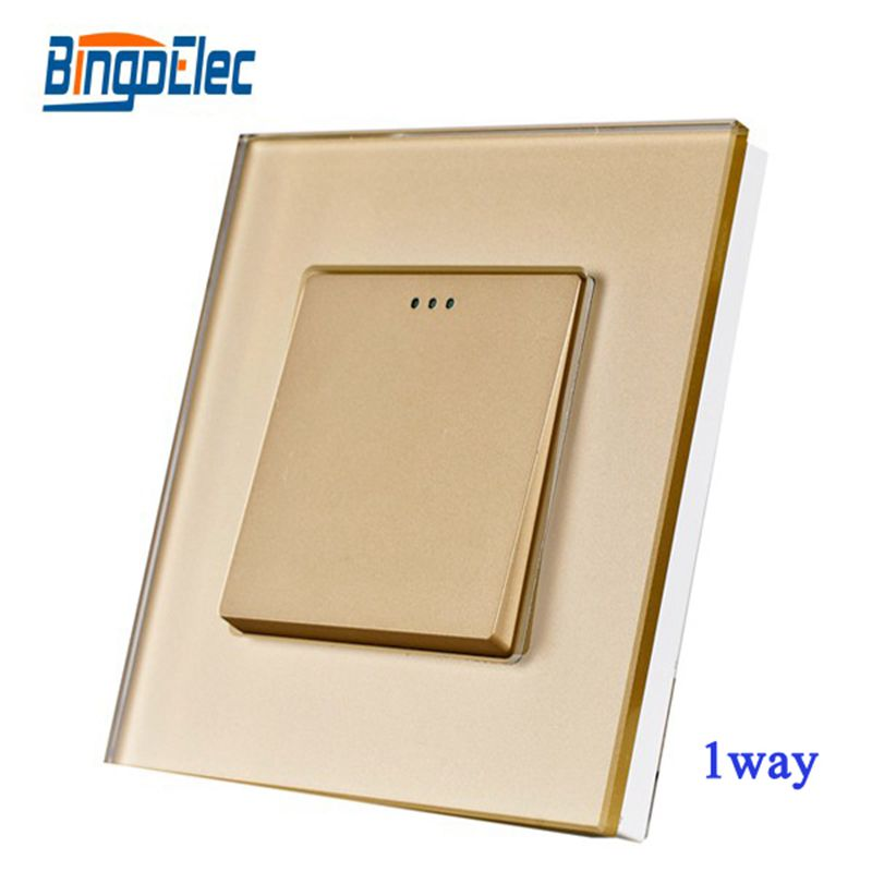 2017 Home Improvement EU UK Standard 1gang 1way Switch Button Glass Panel Switch Electrical wall Switch On/Off Switch eu us smart home remote touch switch 1 gang 1 way itead sonoff crystal glass panel touch switch touch switch wifi led backlight