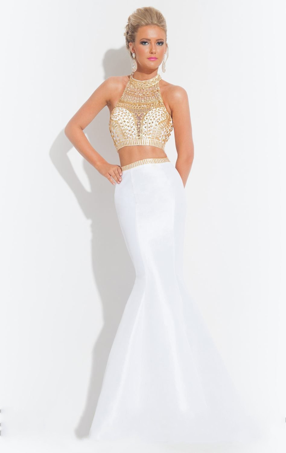 4df6004719de 2015 Hot White and Gold Crystal Sparkly Two Piece Prom Dresses Long Mermaid  Abendkleider 2 Piece Formal Party Evening Gowns