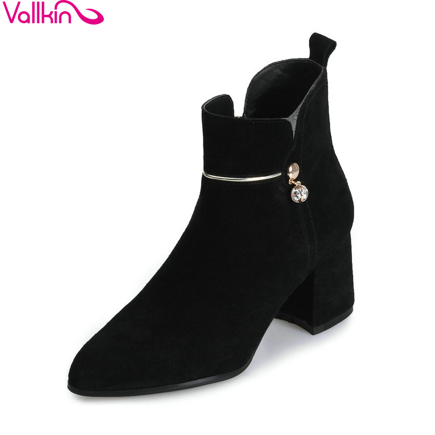 VALLKIN 2018 Women Boots Zipper Pointed Toe Short Plush/PU Square High Heels Chunky Elegant Ankle Boots Ladies Boots Size 34-39 esveva 2018 women boots short plush pu lining elastic band pointed toe square high heels ankle boots ladies shoes size 34 39