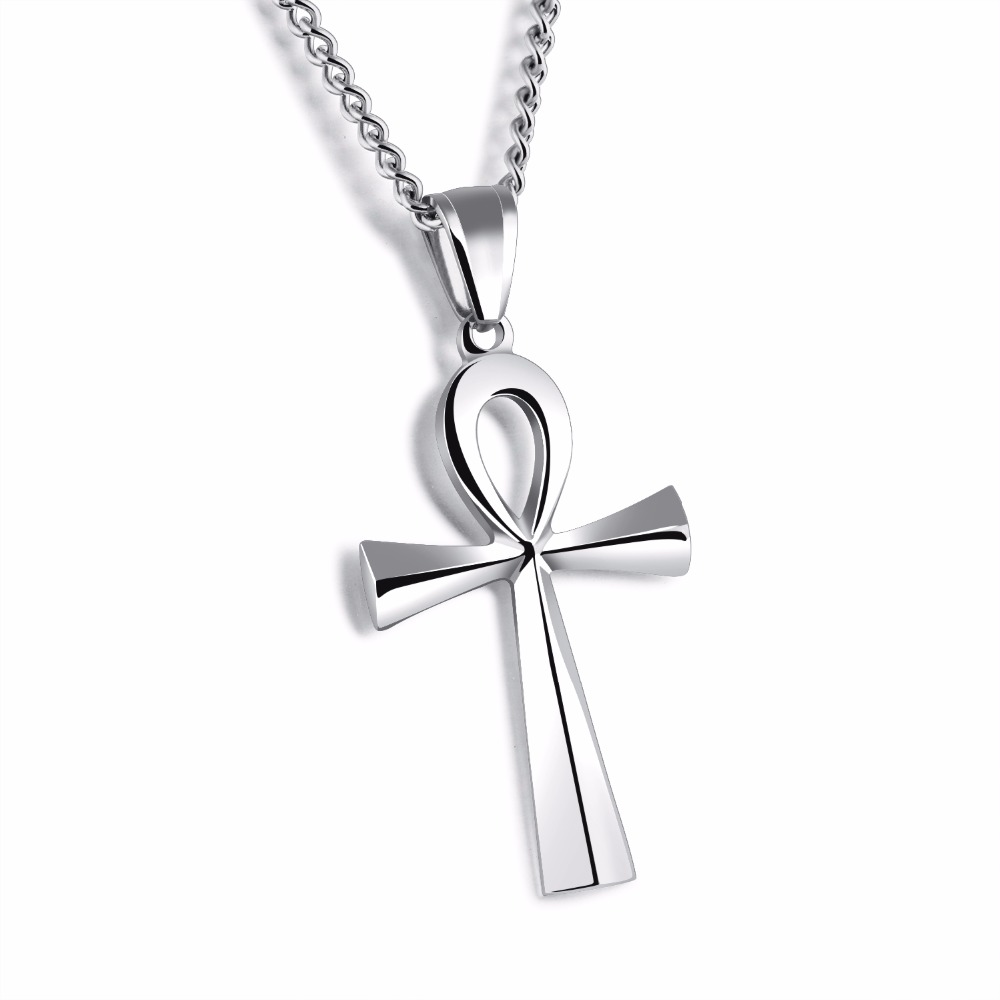 High polished stainless steel ancient egyptian ankh cross pendant high polished stainless steel ancient egyptian ankh cross pendant religious necklace symbol of life jewelry for women men in pendant necklaces from jewelry biocorpaavc Choice Image