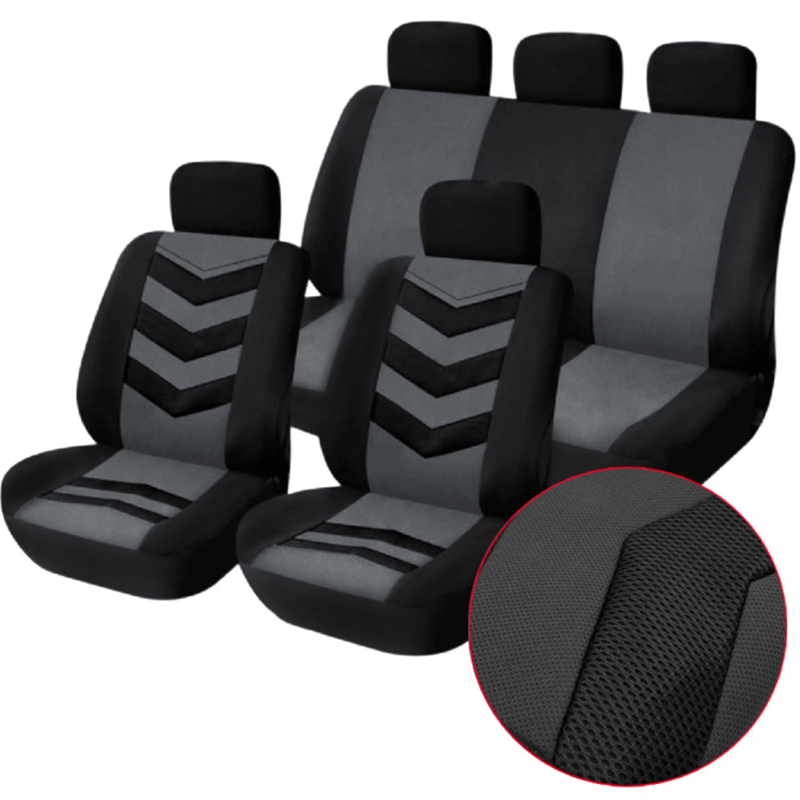 Gray 9pcs Set Sports Breathable and cool Auto Car Seat Cover Full Front Seat Mat Pad
