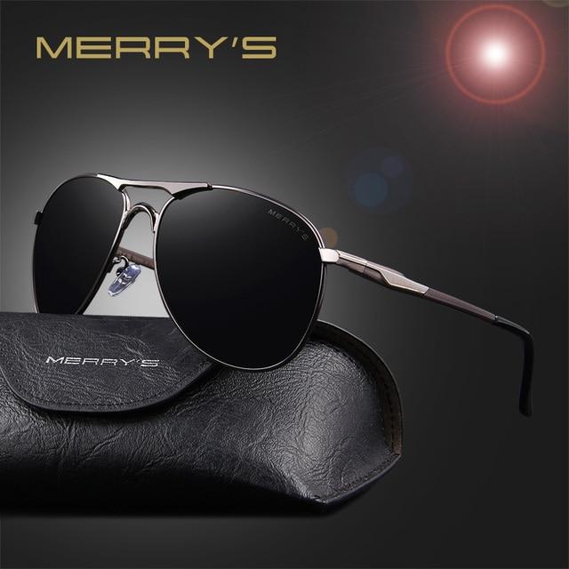 4a3b8930071fa1 MERRY S En Aluminium Hommes Polarisées Miroir Soleil Lunettes Classique Marque  Designer lunettes de Soleil Hommes Conduite