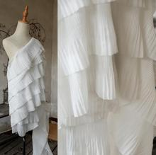 Seven-layer Process white pleated wavy textiles cloth fabric dresses mannequin diy laser wedding gauze party tweed fabric A432 2style wave pleated small texture stereo textiles cotton fabric dress sequins diy laser wedding gauze party tweed fabric a424