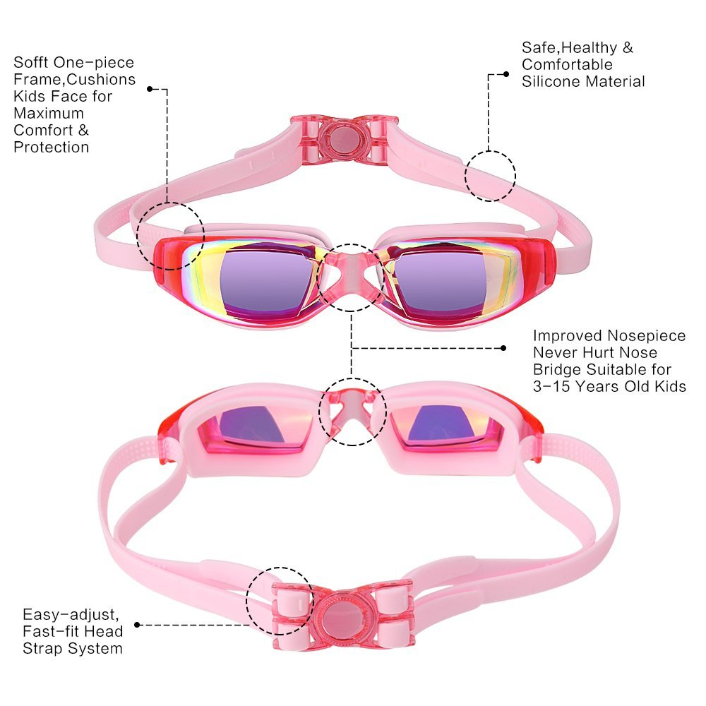 Kids Swimming Anti-Fog UV Protection Prescription Goggles Waterproof Glasses Goggle 9