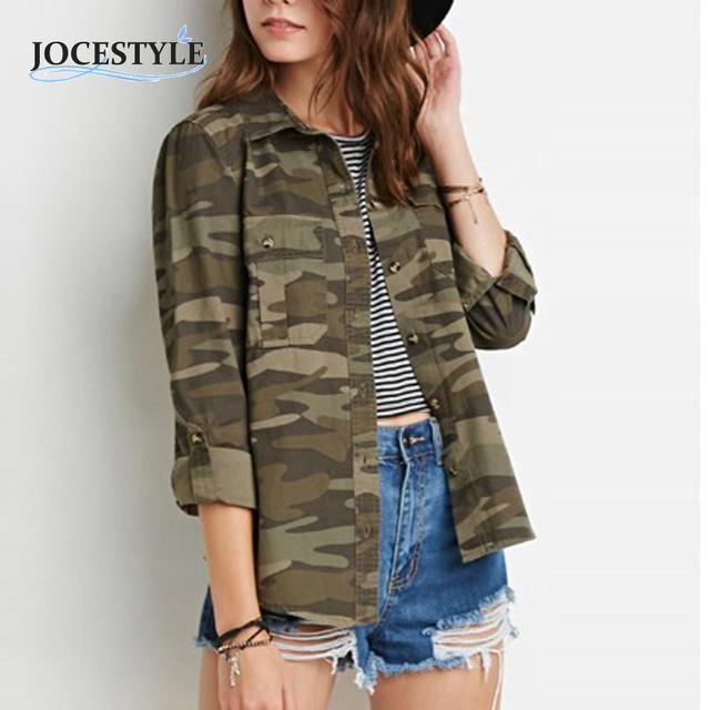 Mulheres Moda Casual Camouflage Jacket Bainha Material Confortável mangas Compridas Casual Bolso Outerwear Moda Casaco Para O Outono