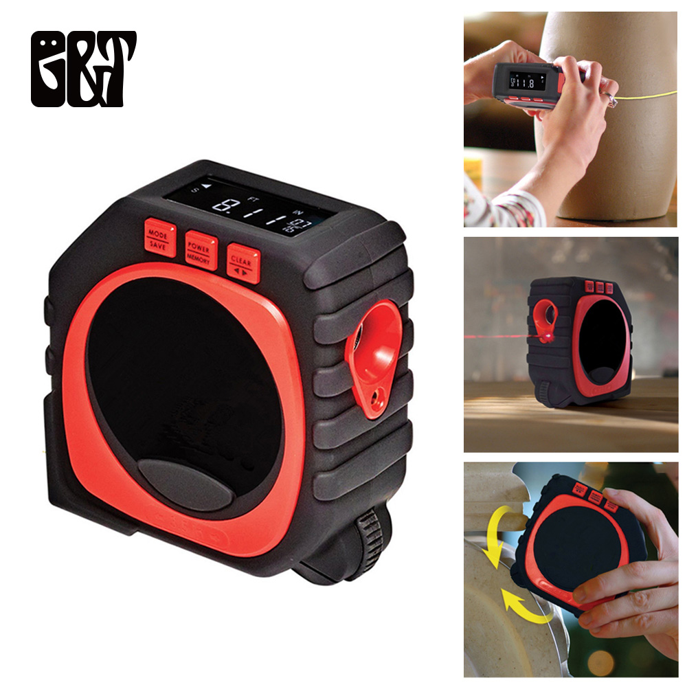 GT 3 in 1 Measuring Tape with Roll Cord Mode Measure String Mode Sonic Modes High Accuracy Laser Digital Tape High Impact