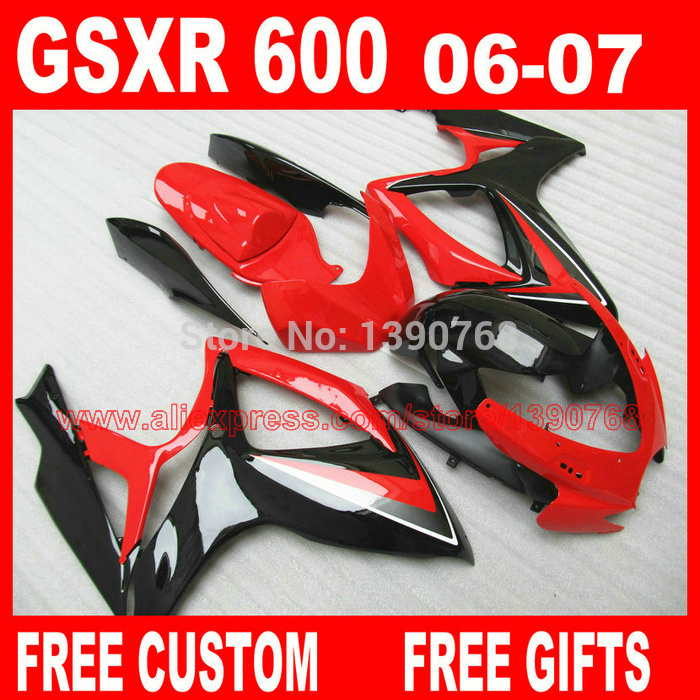 fairing kit for 06 07 SUZUKI K6 K7 GSXR 600 750 glossy black red  fairings set gsxr600 2006 GSXR750 2007 Cc23 lowest price fairing kit for suzuki gsxr 600 750 k4 2004 2005 blue black fairings set gsxr600 gsxr750 04 05 eg12