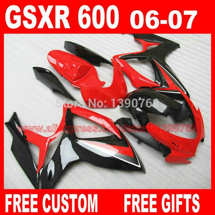 fairing kit for 06 07 SUZUKI K6 K7 GSXR 600 750 glossy black red  fairings set gsxr600 2006 GSXR750 2007 Cc23