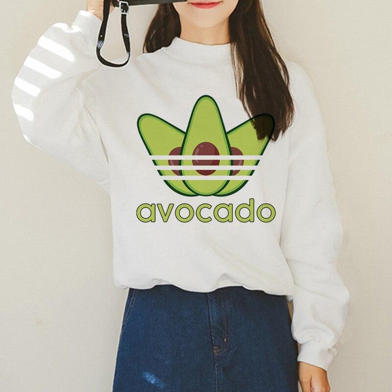 Avocado Harajuku Ullzang Small Fresh Warm Hoodies Women Vegan Kawaii Cartoon Print Sweatshirts 90s Graphic Fashion Hoody Female