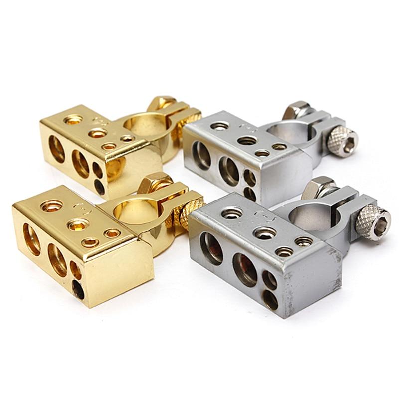 Car Gold 2 4 8 Gauge AWG Positive /& Negative Battery Clamp Terminal w//