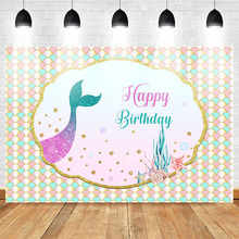 Neoback Mermaid Backdrop Happy Birthday Photo Background Celebration Party Banner Photography Backdrops for Studio