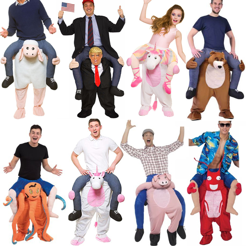2019 Newest Trump Pants Party Unicorn Animal Dress Up Ride On Me Mascot Costumes Carry Back Novelty Toys Party Cosplay Clothes adult child novelty ride on me mascot costumes carry back fun pants christmas halloween party cosplay clothes horse riding toys