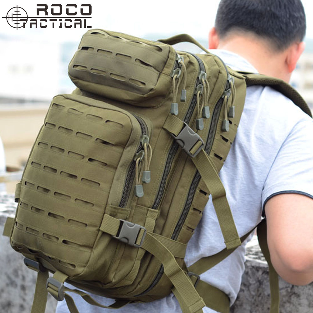 ROCOTACTICAL 30L Tactical Backpack Laser-Cut MOLLE Assault Pack for Camping Hiking Hunting Travelling Nylon Bag Fits 15 Laptop 25l military tactical assault pack backpack molle ripstop nylon backpack outdoor hiking camping hiking backpack