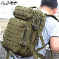 ROCOTACTICAL 30L Tactical Backpack Laser Cut MOLLE Assault Pack for Camping Hiking Hunting Travelling Nylon Bag Fits 15 Laptop