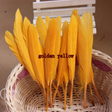 New Hot Pretty 50 pcs / lot Beautiful Goose Feather 4-6 Inches 10-15 cm DIY Free Shipping golden yellow(China)