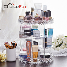 CHOICE FUN Rotating Large Acrylic Cosmetic Organizer Clear Plastic Storage Bath Bathroom Rack Shelf for Makeup