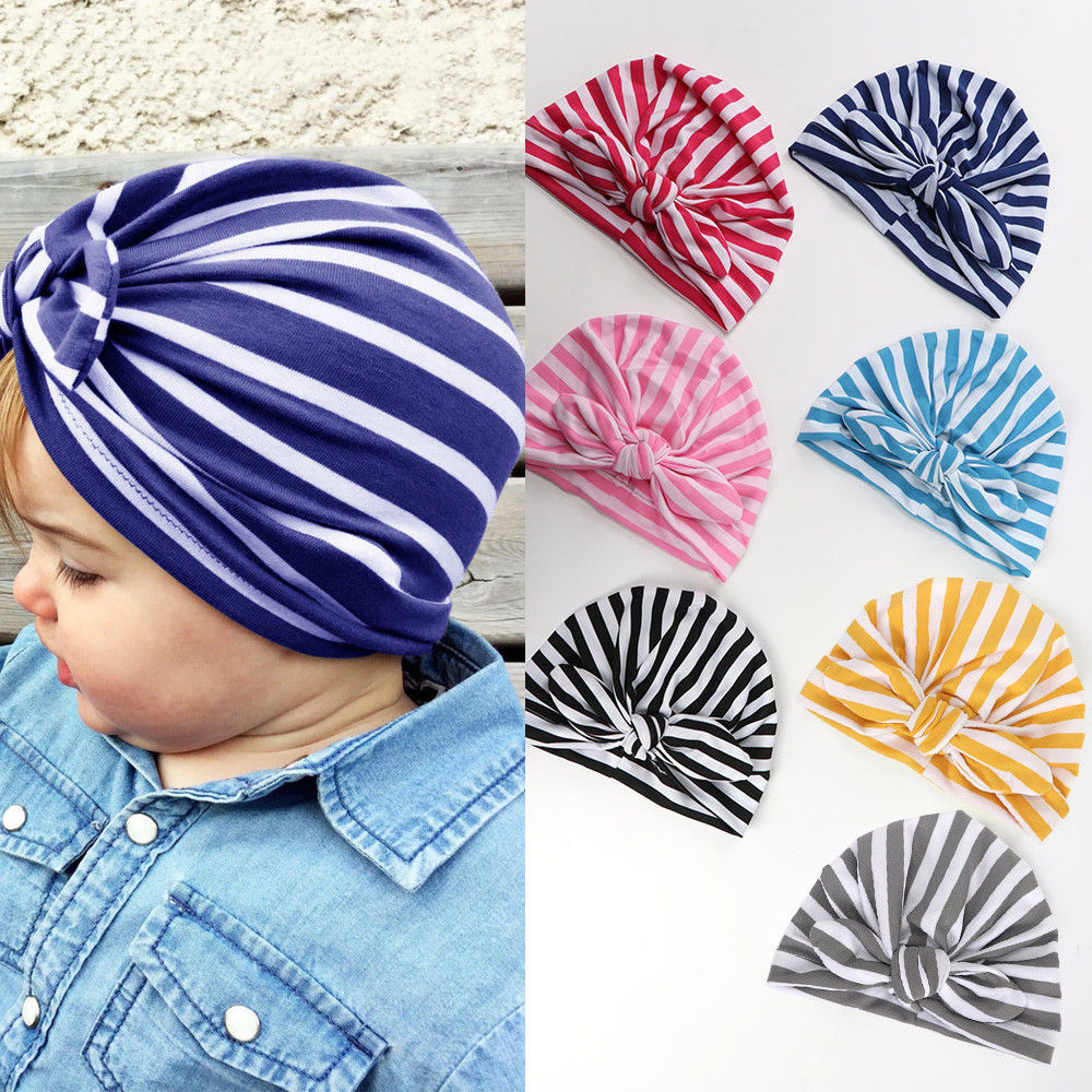 Fashion Newborn Toddler Kids Baby Boys Girls Turban Hat Winter New Striped Bow Cap Cotton Beanie Baby Casual Milk Silk Hats women new elastic cap turban muslim ruffle cancer chemo hat beanie scarf turban head wrap cap ladies india take photo headscarf