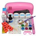 Manicure Set 9W UV Lamp Nail Gel Polish UV Gel Base Gel Top Coat Nail File Brushes Nail Tools Kit