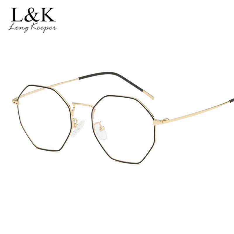 2a8ec3baa27 New Optical Eyeglasses Frame Women Vintage 2019 Gold Metal Oversized Octagon  Polygon Glasses For Computer Protection