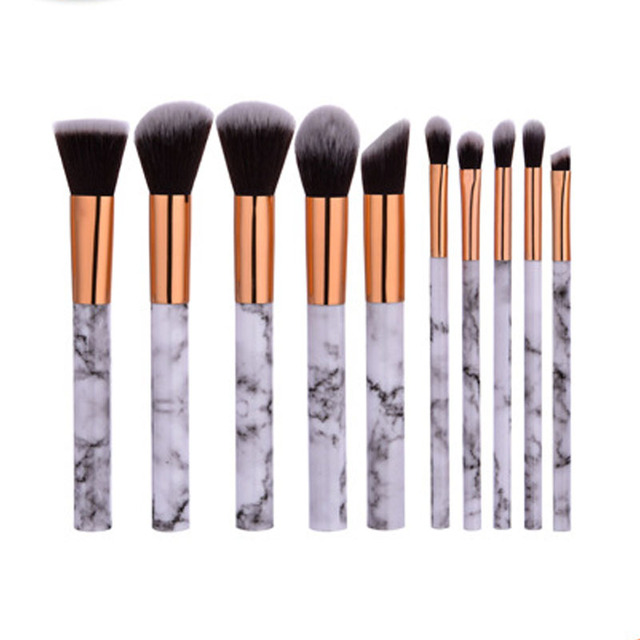 10pcsPromotions marbling texture brushes face foundation powder eyeshadow kabuki eye blending cosmetic marble makeup brush tool 2