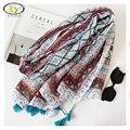 1 UNID 180*100 CM 2017 Estilo Del Resorte de Corea Nueva Moda de Acrílico de Algodón Mujeres Largas Borlas Bufanda Mujer Nueva diseño de Algodón Viscosa Chales