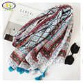 1PC 180*100CM 2017 Spring Korea Style New Fashion Acrylic Cotton Women Long Tassels Scarf Woman New Design Viscose Cotton Shawls